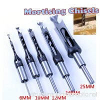 AKHS 5PCS HSS Square Hole Saw Mortise Chisel Wood Drill Bit with Twist Drill - B078H9RB9G