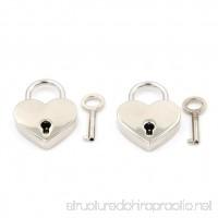 SNNplapla 2 Pcs Mini Metal Heart Shaped Padlock Luggage Bags Lock With Key - B07DWPF1SB