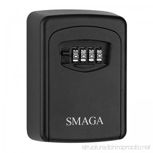 Key Storage Lock Box with 4-Digit Combination Wall Mounted Key Safe Box/Security Key Holder/Code Storage Case/Cipher Lock Box (Black) (Black) - B07DJ2MW5S