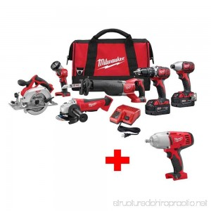 Milwaukee M18 18-Volt Lithium-Ion Cordless Combo Tool Kit (6-Tool) with Free M18 1/2 in. Impact Wrench with Friction Ring - B07G2VK3NB