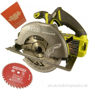 Ryobi P508 18-Volt One+ 7-1/4 in. Brushless Circular Saw Bundle with Diablo 40-Tooth Finish Saw Blade and The Art of Woodworking Book (Bare Tool) - B077J626KL