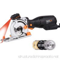 Tacklife Mini Circular Saw with Laser 6 Blades CSK77AC Circular Saw 5.8A 705W (Equivalent 7.5A 900W) Cutting Wood/Plastic/Metal/Tile/Masonry/Flooring One-hand Left Design and Depth 0~28.5mm - B0719VTF7M