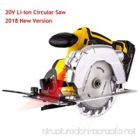 Voluker 20V Portable Circular Saw Cordless 7000 RPM 6-1/2 Saw Blade with Lightweight Safety Guard Laser Guide and Guide Ruler Li-ion Battery and Charger Adapter Included - B07FXGZFW2