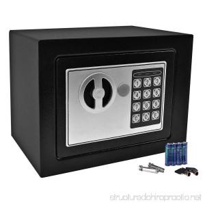 GHP 8.9 X 6.5 X 6.5 Black Solid Steel Digital Electronic Small Safe Box - B012S4KDFW