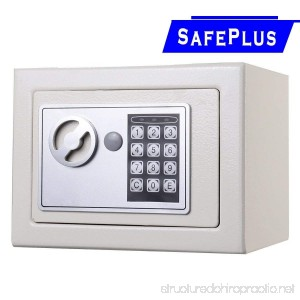 NEW Small White Digital Electronic Safe Box Keypad Lock Home Office Hotel Gun - Constructed With 2mm Thick Solid Steel - Opens With Digital PIN Or Included Override Key - B01HGPCIWE