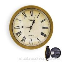 Aolvo Wall Clock Hidden Safe  10 Inch Round Quartz Clock  Retro/Vintage Quiet Clock With Secret Compartment Stash Shelf  Safety Hidden Storage Box Container for Cash/Money/Jewelry/Stashing - B07F1R4DQT