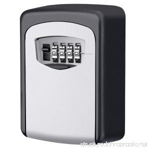 KeeKit Key Lock Box Key Storage Lock Box 4-Digit Combination Key Box Wall Mounted Key Lock Resettable Code Weatherproof Security Key Holder for Outdoor and Indoor Holds up to 5 Keys - B0773DCVL1
