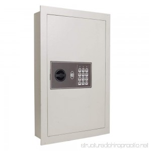 Flat Panel Home Office Security Electronic Digital Wall Safe 16x4x22 (Cream White) - B00BPEZLHW