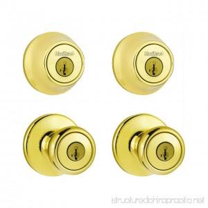 Kwikset 92420-031 Bright Brass Tylo Knob Entry Lockset & Deadbolt - B0149INAOG