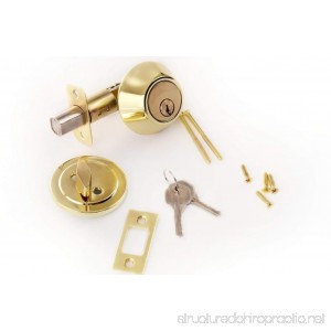 Lion Locks LICO0705 Tulip Style Keyed Alike Door Knob and Deadbolt Set Polished Brass 2-Pack - B0170MRTAE
