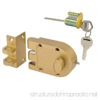SUMBIN Jimmy Proof Deadbolt Single Cylinder Rim Door Locks With Keyed For Entry Door Gold Finish - B01M66HCT9