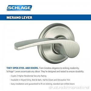 Schlage F40 MER 619 16-080 10-027 Merano Bed and Bath Lever Satin Nickel - B0055HKGC0