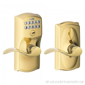 Schlage FE595 CAM 505 ACC Camelot Keypad Entry with Flex-Lock and Accent Levers Bright Brass - B001CO9RJ8