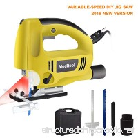 Meditool Top-handle Jig Saw Kit Variable Speed Electric Saw with 5.9FT Cord Built-in Laser & Led Light 45-Degree Max Mitre Angle Adjustable Dust Extraction Connector Parallel Guide Two Blades - B07BGXWKT8
