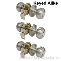 Probrico Brushed Nickel One Keyway Entrance Door Knobs Entry with Key Handles Keyed Alike Door Lockset Pack of 3 - B01NBT4O63