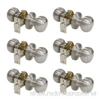 Probrico Passage Door Lock Brushed Nickel Interior Keyless Round Door Knobs Handles Locksets 6 Pack - B01N4BNVXK