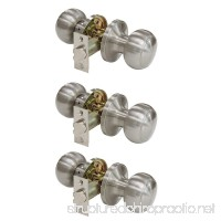 Probrico Satin Nickel Passage Door Knobs Handles for Hall and Closet Lockset Leverset 3 Pack - B01N1Q1NJ8