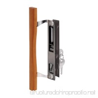 "Prime-Line C 1032 Keyed Sliding Glass Door Handle Set – Replace Old or Damaged Door Handles Quickly and Easily –Wood & Black Painted Diecast  Hook Style  Flush Mount (Fits 6-5/8"" Hole Spacing) - B000FKBQ8K"