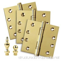 """3 PK - Door Hinges 4"""" x 4"""" Extruded Solid Brass Ball Bearing Brass Hinge Heavy Duty Polished Brass (US3) Stainless Steel Removable Pin  Architectural Grade  Ball/Urn/Button Tips Included - B06ZZF9FBQ"""