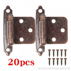 Boshen 20 Pcs Kitchen Cabinet Hardware Hinges Self Closing Face Mount Hinges - Oil Rubbed Bronze - B074WYMJ4K