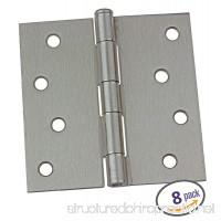 Dynasty Hardware 4 Door Hinges Square Corner Satin Nickel 8 - Pack - B01CD3XTYU