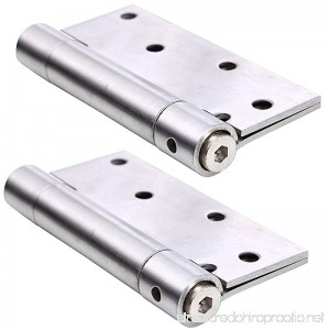 Ranbo commercial grade stainless steel ball bearing heavy duty spring loaded door butt hinge automatic closing/self closer/adjustable tension 4 X 3-1/2 inch brushed chrome( Pack of 2)thickness 2.4 mm - B06ZYRMD8P