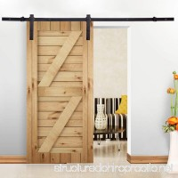 6FT Black Sliding Barn Wood Door Hardware Track Kit Closet Set Basic J Style - B076LL2CKV