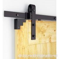 DIYHD 5ft Rustic Black Bent Straight Barn Wood Closet Interior Door Sliding Track Hardware Kit - B01FP5IFCO