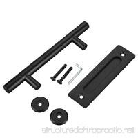FaithLand 12 Pull and Flush Door Handle Set in Black Sliding Barn Door Hardware Handle - B076Q5J419