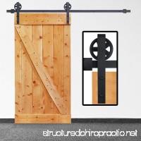Sale! 8-Foot Sliding Barn Door Single Track Hardware Big Wheel|Heavy Duty| Powder Coated Frosted Black |Big Wheel Hangers| 1 x 8 Foot Solid Rail | Installation Video Included by Homeland Hardware - B0788TB7ND