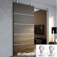 TCBunny 6' 7 Modern Stainless Steel Interior Sliding Barn Wooden Door Hardware Track Set Stainless Steel - B014QQPS7S