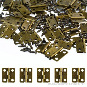 100 Pcs Small Box Hinges 18x16mm Antique Bronze Mini Hinges Retro Butt Hinges with 400Pcs Hinge Screws Wobe Vintage Small Folding Butt Hinges for Ssmall DIY Projects Jewelry Box doll houses - B07CZYFK19