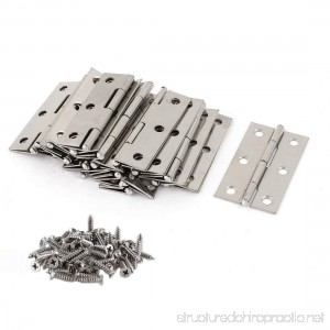 20 PCS Folding Butt Hinges Silver Tone Home Furniture Hardware Door Hinge with 120 PCS Stainless Steel Screws - B0716RCNM6