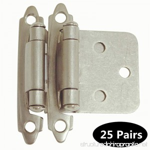 50 Pack(25 pairs) Brushed Satin Nickel Decorative Self Closing Face Mount Kitchen Cabinet Hinges Flush Variable Overlay - B01GCHMBE2