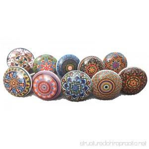 10 x Mix Vintage Look Flower Ceramic Knobs Door Handle Cabinet Drawer Cupboard Pull Mandala Xfer new - B07C6GJ4T4