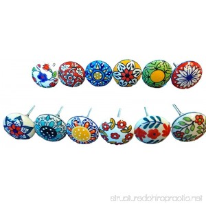 12 x Mix Vintage Look Flower Ceramic Knobs Door Handle Cabinet Drawer Cupboard Pull - B01GTPQQCA
