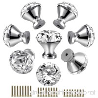 30mm Kitchen Cabinet Knobs Drawer Pull Handle Hardware  Crystal Clear Glass Round Diamond Shape Dresser Closet Bi-fold Door Bathroom Cupboard Desk Nightstand Bookcase Furniture Drawer Knob Set (8 PCS) - B07DXLMDS5