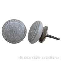 Artncraft 12 Knobs White & Grey Hand Painted Ceramic Knobs Cabinet Drawer Pull - B01IB2BQGU