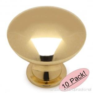 Cosmas 5305PB Polished Brass Traditional Round Solid Cabinet Hardware Knob - 1-1/4 Diameter - 10 Pack - B01K5T6C4I