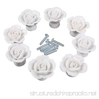 CSKB White Flower Rose Door Knobs + Screw Floral Vintage Ceramic Kitchen Pull Handle Knob Home Modern Style Cupboard Pulls Drawer Knobs and Handles - B00NGHSDKI