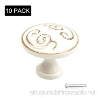Eliseo 10 Pack Door Knob Pull Handles Ivory White with Gold Edge Cabinet Cupboard Handle Knobs Kitchen Door Wardrobe Hardware Handles with Mounting Screws for Drawer Chest Bin Dresser - B079BV15XQ