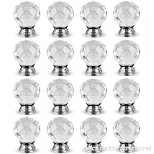 Hewnda 16Pcs 40mm Diamond Cut Clear Crystal Glass Kitchen Drawer Door Knob Cupboard Pull Handle Hardware for Bedroom Furniture Bedside Cabinet Dresser Unit and Chest - B01N103Q1U
