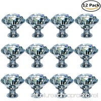 HOSL 12-Pack 40MM Diamond Shape Crystal Glass Cabinet Knob Cupboard Drawer Pull Handle/Great for Cupboard  Kitchen and Bathroom Cabinets  Shutters  etc - B072XGRSGP