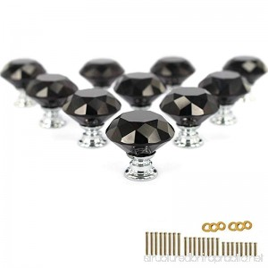 KEIVA 10pcs Diamond Shape Crystal Glass 30mm Black Drawer Knob Pull Handle Usd for Cabinet Drawer Cupboard Chest Dresser with 3 kinds of Screws (30mm Black) - B01N6QSO37
