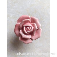 Knobs  8Pcs Elegant Pink Rose Pulls Flower Ceramic Cabinet Knobs Cupboard Drawer Pull Handles + Scre - B078R6QCH5