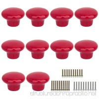 Marstree 10pcs Vintage Ceramic Door Knobs Round Shape Drawer Cupboard Locker Pulls Handles Wardrobe Drawer Cabinet Home Kitchen Hardware (Red) - B07587NZ75