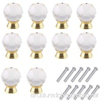Mosong 10pcs 30mm Glass Clear Cabinet Knob Drawer Pull Handle Kitchen Door Wardrobe Hardware Used for Cabinet Drawer Chest Bin Dresser Cupboard Etc (Clear-Gold) - B01LT1PW74
