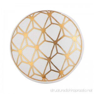 Set of 12 White and Gold Knobs – Contemporary Cabinet Pulls for Cabinets Drawers and Dressers – Decorative Drawer Knobs for Living Room Bathroom Fixtures or Kitchen Cabinetry by Artisanal Creations - B0757RZLX6