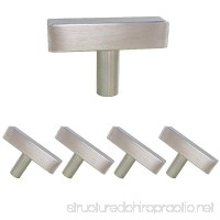 Single Hole Square Cabinet Pulls and Knobs Brushed Nickel Stainless Steel 5 Pack-Homdiy HDJ22SN 2in 50mm Length T Bar Kitchen Cabinet Door Handles - B072FRH1VK