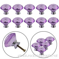 YUYIKES 40mm Diamond Shape Crystal Glass Cabinet Knobs Purple 12 Pack for Drawer Chest Bin Dresser Cupboard - B01GRTV8JE